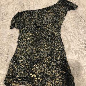 One Shouler Leopard Print Blouse
